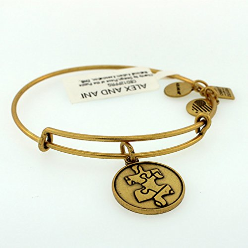 Gold Puzzle Piece Charm - Alex and Ani Women's Piece Of The Puzzle Charm Bangle Rafaelian Gold Finish Bracelet