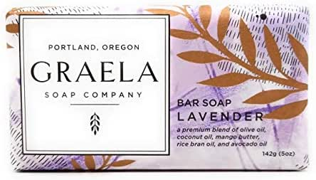 Graela Bar Soap 5oz/142g - all-natural and made from a premium blend of olive oil, coconut oil, rice bran oil, mango butter, avocado oil, and scented with essential oils and natural fragrances