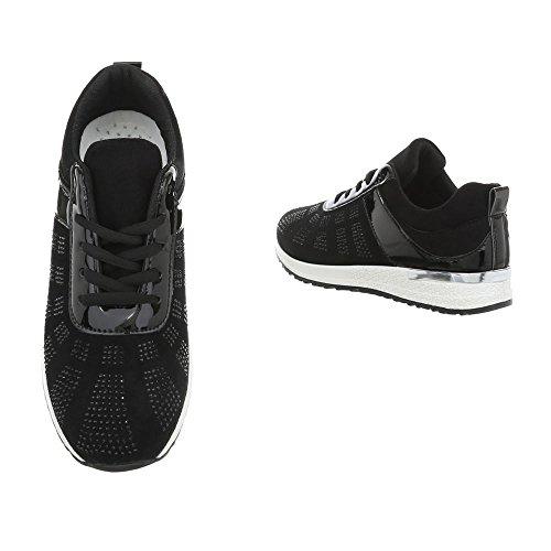 Italien Bas Chaussures Casual P 20 Femmes design Sneakers Noir 1UnqpznE