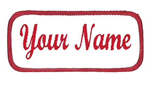 Name patch Uniform or work shirt personalized Identification tape Embroidered Iron On or Hook Fastener, White/Red Script, Iron On