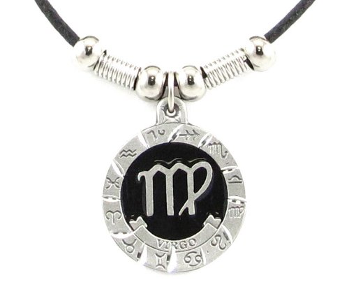 Virgo Pewter Pendant on Beaded Leather Necklace - Earth Spirit Necklace