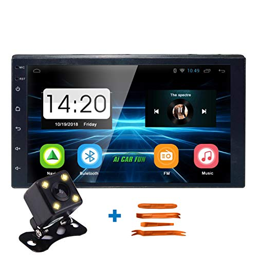 Keleda 7001 Android Double Din Car Stereo with Backup Camera,Auto GPS Navigation System WiFi Bluetooth Radio Receiver 7-inch Touchscreen LCD Monitor,in-Dash DVD/CD/MP3/USB Aux-in (With Stereo System Car Navigation)