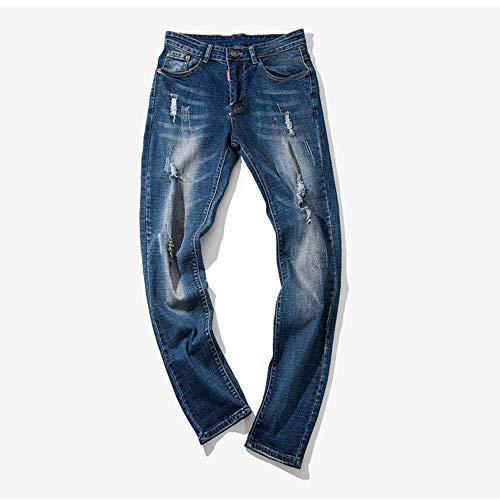 hop Pantaloni Uomo Lavoro Casuale Strappati Hip Cotone Denim Da Blu Del Jiameng Casual Jeans Di XUnPxffd