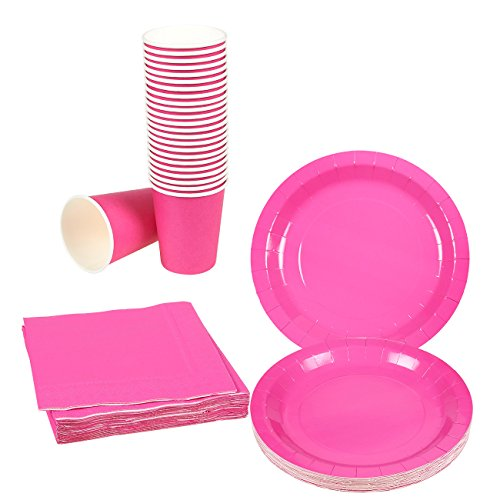 Disposable Dinnerware Set - Serves 24 - Dark Pink Party Supplies - Includes Paper Plates, Napkins, Cups, Neon (Hot Pink Party Plates)