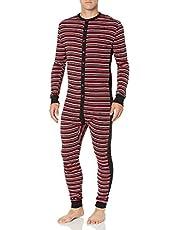 2(X)IST Mens 020124 Essential Cotton Long Underwear Union Suit Onesie Underwear Base Layer - Black