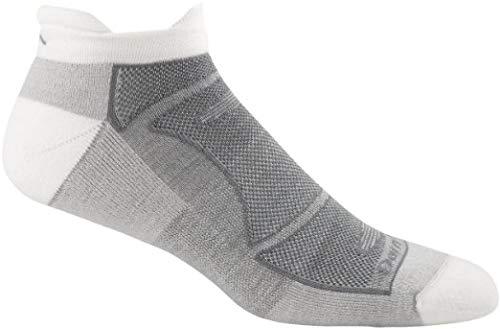 (Darn Tough Men's Merino Wool No-Show Ultra-Light Cushion Athletic Socks, White/Gray, Small)