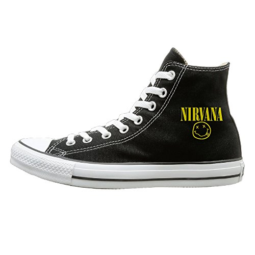 (BI Nirvana Canvas Unisex Flat Canvas High Top SneakerOxford 42 Black)