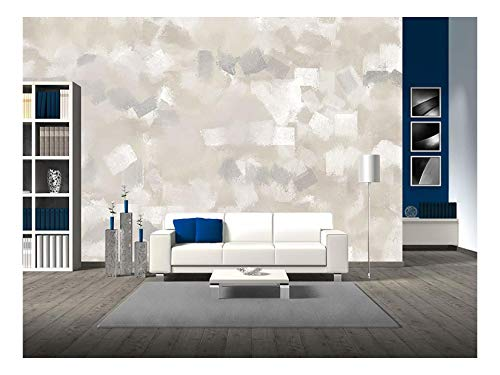 wall26 - Beige and Grey Abstract Art Painting - Removable Wall Mural | Self-Adhesive Large Wallpaper - 66x96 inches