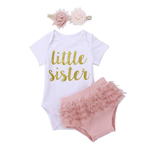 - iiniim Newborn Baby Girls Hello World Outfit Romper Bodysuit Top with Ruffle Bloomers Shorts Headband Set Little Sister Printed 12-18 Months