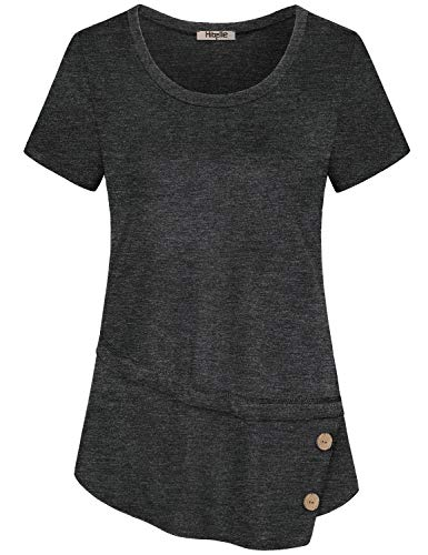 Hibelle Tunic Tee Shirts for Women, Juniors Asymmetrical Work Tops Summer Casual Short Sleeve Tshirt Crew Neck Flowing Shirttail Hem Button Trim Athleisure Daily Wear Carbon Black L