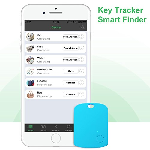 Key Finder, CC-Show Wireless GPS Phone Locator, Smart Wallet Tracker, Anything Anti Lost Alarm with Selfie Shutter/Remote Control for iOS/Android App, Shield Shape (Blue) by CC-Show