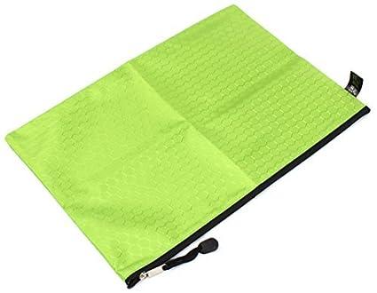 Padrão DealMux Nylon Hexagon portátil Titular A4 arquivos de papel Zipper Bag, Verde