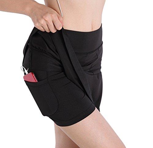 EAST HONG Women's Fitness Movement Short Skirt Lightweight Running Short Skirt (Black`, Medium)