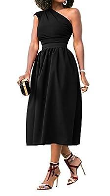 Hancico Womens Sleeveless Single Shoulder Prom Party High Waist Midi Dress