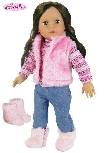 Sophias Doll Clothes for 18 Inch Doll 4 Pc. Doll Outfit Set of Pink Fur Vest, Shirt, Jeans, and Fur Boots Made, Fits 18 Inch American Girls