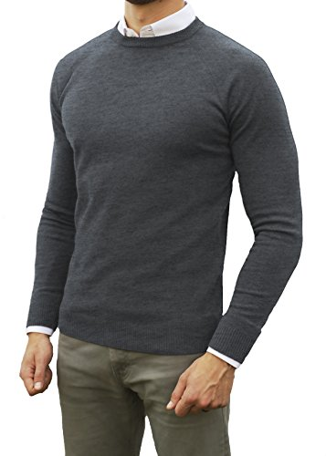 Comfortably Collared Men's Perfect Slim Fit Light Weight Crew Neck Pullover Sweater (Medium, Charcoal)