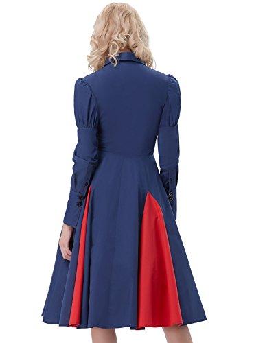 Halloween Chemise reg; FR366 Poque Dguisement Edwardian Robe Manche Gothique Robe Longue Bleu pour Fonc Femme en Belle Robe Coton Fte 5qzFwIw