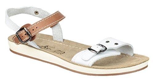 Fantasy Ladies Santaroni Leather Metal Buckle Anklestrap Sandal White Multicolor - blanco/marrón