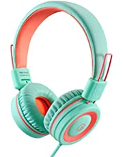Kids Headphones-noot products K11 Foldable Stereo Tangle-Free 5ft Long cord 3.5mm Jack Plug in Wired On-Ear Headset for iPad/Amazon Kindle,Fire/Boys/Girls/School/Travel/Plane/Tablet/Laptop(Mint/Coral)