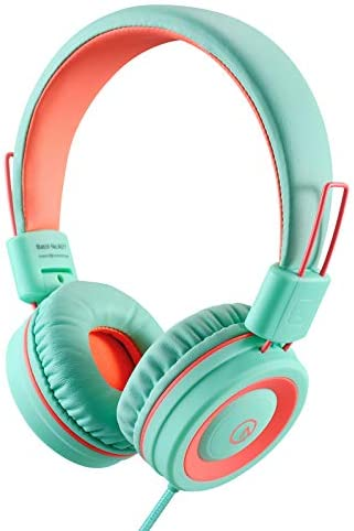 Kids Headphones-Noot Products K11 Foldable Stereo Tangle-Free 5ft Long twine 3.5mm Jack Plug in Wired On-Ear Headset for iPad/Amazon Kindle,Fire/Boys/Girls/School/Travel/Plane/Tablet/Laptop(Mint/Coral)