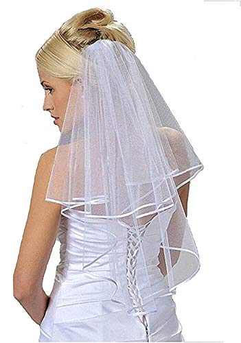 Vintage Two Tiers Bridal Wedding Veil Simple Ribbon Edge Elbow Length Bride Veils Ivory