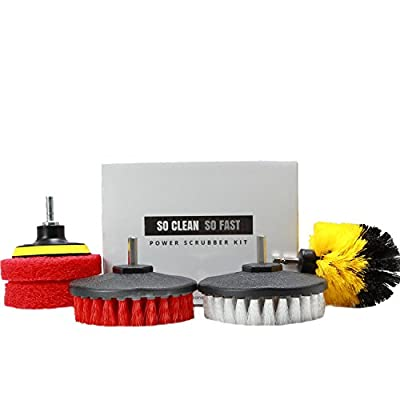Power Scrubber Set: Drill Brushes & Scouring Pads - Clean Hard Water & Stains 5X Faster - For Tile, Grout, Rim, Corner, Floor, Carpet, Glass Doors, Fiberglass Tubs - Fit Most Drills