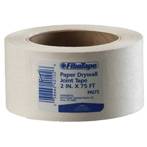 Saint-Gobain ADFORS FDW6620-U FibaTape Paper Drywall Joint Tape 2-Inch x 75-Feet, White (Drywall Perforated Tape)