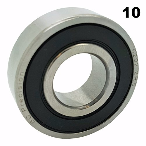 Ten (10) 6202-2RS Sealed Bearings 15x35x11 Ball Bearings / Pre-Lubricated (Pack of 10)