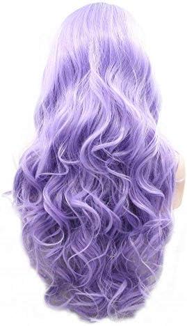 Peluca de lavanda con encaje frontal sintético para mujer, color morado pastel, lila: Amazon.es: Belleza