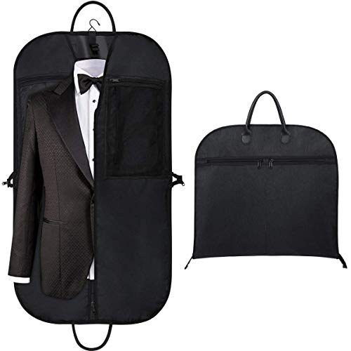 """Orange Tech 43"""" Gusseted Travel Garment Bag, Breathable and Durable Thick Oxford Fabric Suit Garment Cover with 5 Zipper Pockets and 2 Carry Handles for Storage and Travel, Black"""