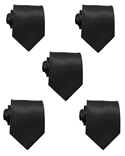 Mens Solid Satin 3.9 Inch Wide Formal Necktie Pack 5 For Wedding By JAIFEI (Black) ()
