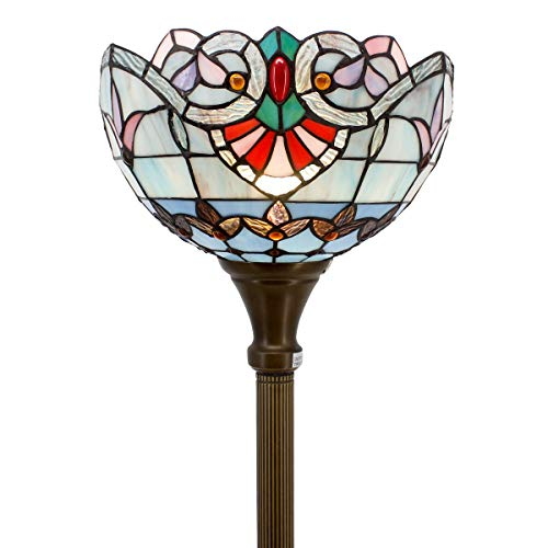 (Tiffany Style Torchieres Floor Lamp Table Desk Standing Lighting Pink Blue Baroque Wide 12 Tall 66 Inch Stained Glass Lampshade for Living Room Bedroom Antique Set S003P WERFACTORY )
