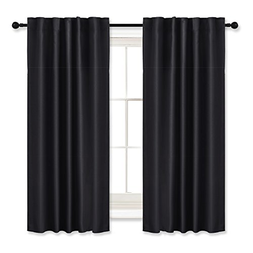 Blackout Curtains Draperies Panels - RYB HOME ( W 42 x L 54 inch, Black, 2 Pieces ) Window Dressing / Covering Drapes Back 6 Tabs each Panel Easy to Creat Pleated Effect Blocking Lights for Bedroom - Pleated Panel