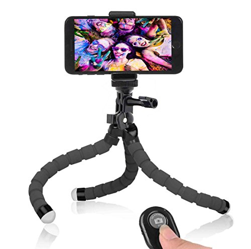 Phone Tripod, Anconic flexible cell phone Tripod with Remote for Iphone& Android Phone, Camera, and Gopro[UPGRADED] High Density Connector
