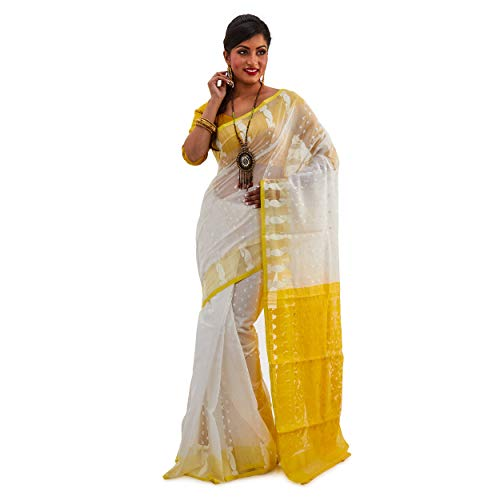 SareesofBengal Women's CottonSilk Handloom Jamdani Dhakai White With Yellow Saree Indian Ethnic Wedding Gift Sare