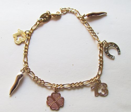 Good Luck Tri Color Gold Overlay Charm Bracelet with 6 Charms on a Figaro Chain with Lobster Clasp