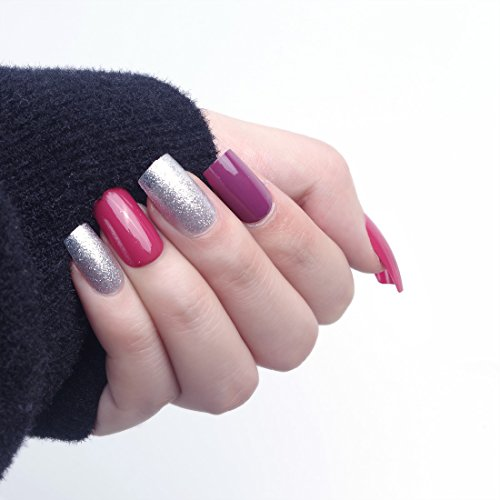 24pcs 12 Different Size Elegant Glitter Silver Solid Wine Red Purple Medium Length Square Full Cover False Nails with Design (Silver Solid Glitter)
