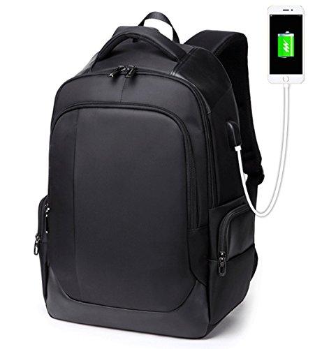 (Baobab's wish 2018 New 15.6 Inch Backpack Men's Business Computer Bag USB Charging Multi-Function Waterproof Laptop Backpack College School Bag Travel Bag (Black-B))