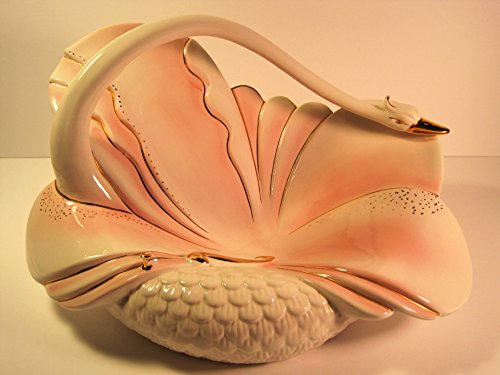 Swan Bowl, Art Deco Porcelain/Ceramic with Gold Accents, Vintage, 15 Inches