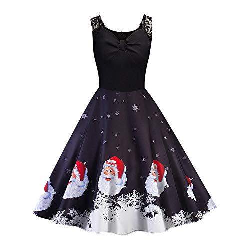 (Women Dress, Lowprofile Christmas Criss Cross Back Print Flare Dress for Women Short Sleeve Dress Hollow Party Casual)
