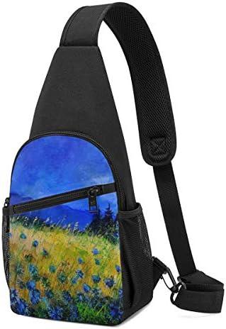 ボディ肩掛け 斜め掛け 花海 絵画 ショルダーバッグ ワンショルダーバッグ メンズ 軽量 大容量 多機能レジャーバックパック
