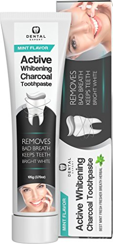 Activated Charcoal Teeth Whitening Toothpaste DESTROYS BAD BREATH - Best Natural Black Tooth Paste Kit - Herbal Decay Treatment - REMOVES COFFEE STAINS - 105g (Mint Flavor (3.7oz))