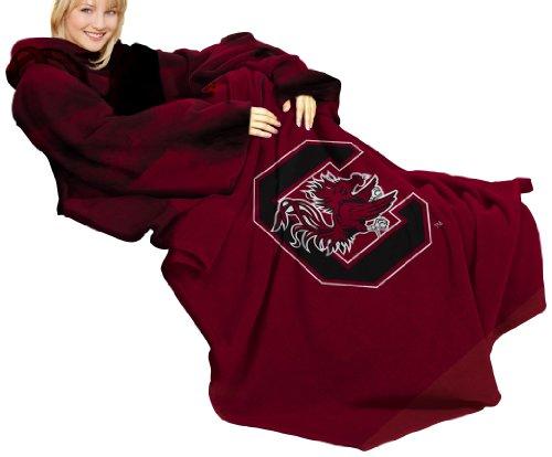 (NCAA South Carolina Fighting Gamecocks Comfy Throw Blanket with Sleeves, Smoke Design)