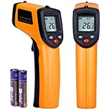 A_Life 赤外線放射温度計 非接触 レーザークラス 2 デジタル温度測定器 ガンタイプで携帯型 温度計 ワインクーラー暑いアスファルト、料理作り プール 給湯管などに対応 乾電池付き (-58°F~716°F黄色)