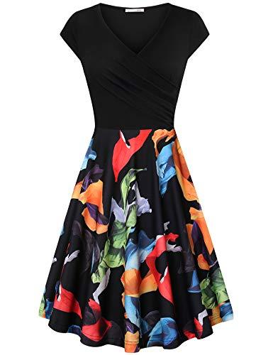Messic Women's Cross V Neck Dresses Cap Sleeve Elegant Flared A Line Dress Black Orange XX-Large