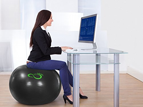 Best Workout Equipment. Live Infinitely Exercise Ball -Professional Grade Exercise Equipment Anti Burst Tested with Hand Pump- Supports 2200lbs- Includes Workout Guide Access- 55cm/65cm/75cm/85cm/95cm Balance Balls. #exerciseequipment
