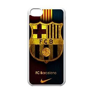 Caso del iPhone 5C Teléfono Funda Blanca FC Barcelona Equipo G8A7EX Logo Fondo Phone Borrar duro Fundas