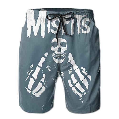 Trikahan Men's Misfits Fxx Skull Logo Swim Shorts Quick Dry Lace Beach Board Shorts Breathable Beachwear White