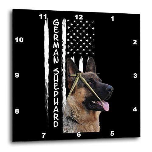 (3dRose Sven Herkenrath Animal - Portrait of German Shepherd with US America Flag United States - 15x15 Wall Clock (DPP_306631_3))