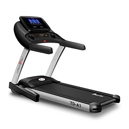 PowerMax Fitness Urban Trek TD-A1 4.0HP Peak Pre-Installed Motorized Treadmill with Android and iOS App, Black